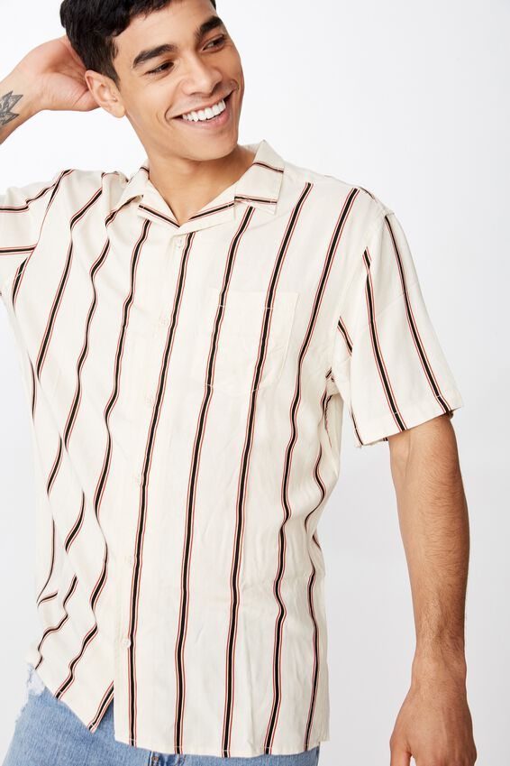 Festival Shirt, VINTAGE WHITE RED STRIPE
