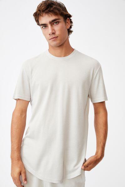 Longline Scoop Waffle T-Shirt, BONE
