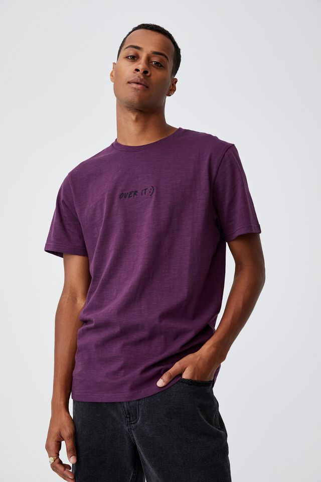 Tbar Text T-Shirt, GRAPE/OVER IT