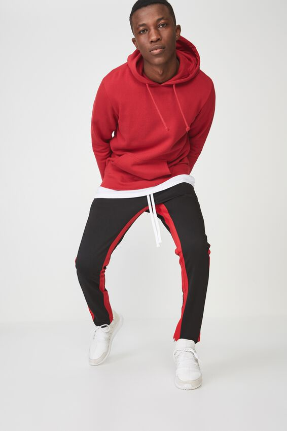 Urban Side Stripe Track Pant, BLACK / RED PANEL