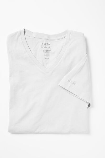 Embroidered Vee Neck Tee, WHITE