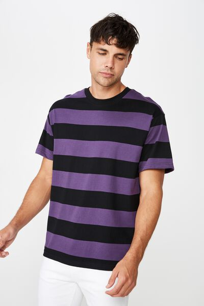 Downtown Loose Fit Tee, BLACK/PRISM VIOLET STRIPE