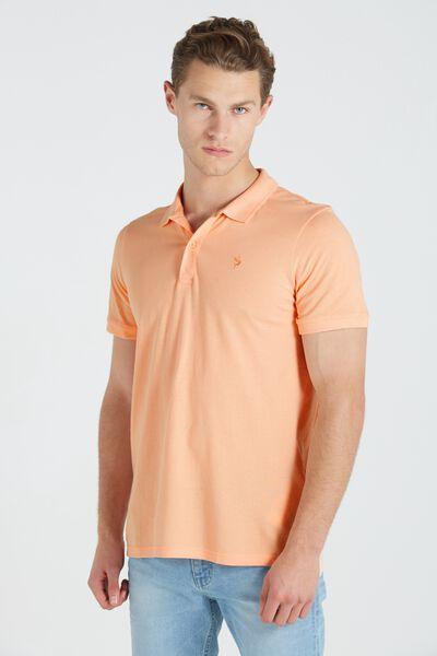 Short Sleeve Icon Polo, APRICOT/MARLIN