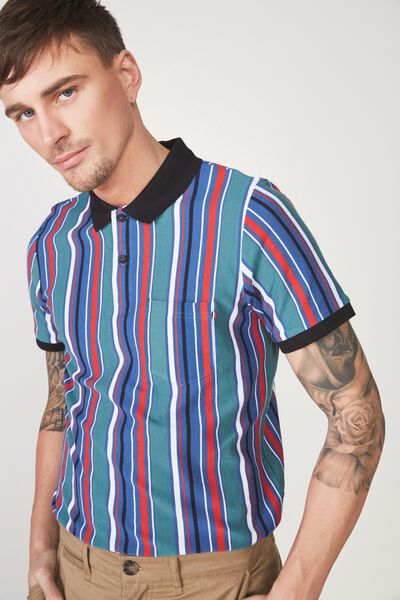 Icon Polo, MULTI POP STRIPE