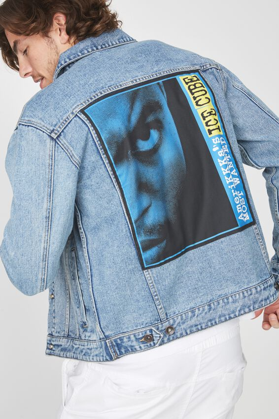 Ice Cube Denim Jacket, ICE CUBE MOST WANTED/BLUE