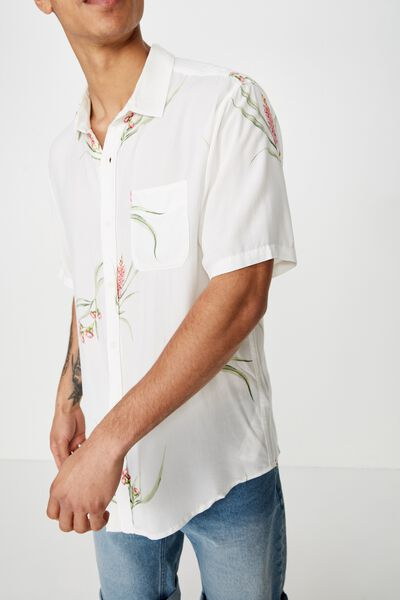 Short Sleeve Resort Shirt, VINTAGE WHITE FLORAL