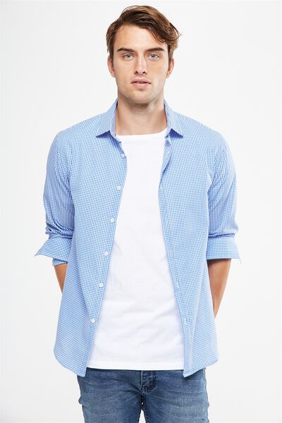 Slim Smart Shirt, BLUE/WHITE GINGHAM CHECK