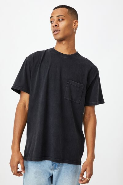 Washed Pocket T-Shirt, WASHED BLACK
