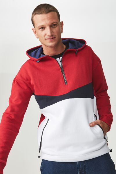 Drop Shoulder Pullover Fleece, FIRE RED/TRUE NAVY/WHITE/UNTITLED NO 7