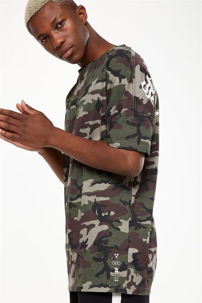 Drop Shoulder Longline, ARMY CAMO/STRANGE PARADISE