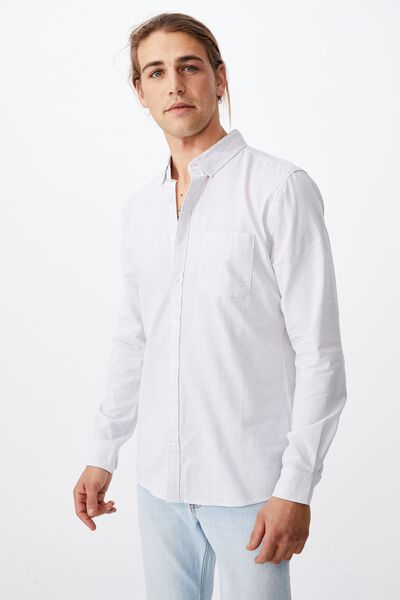 Brunswick Shirt 3, WHITE LIGHT GREY STRIPE
