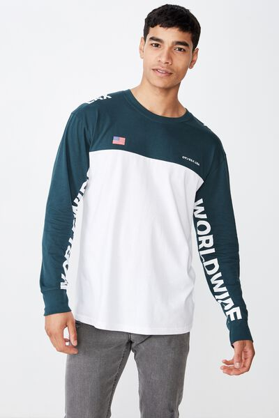 Tbar Long Sleeve, WHITE/DEEP SEA TEAL/VISIONS WORLDWIDE