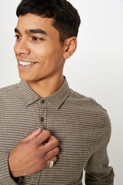 Rugged Long Sleeve Shirt, BROWN NATURAL HOUNDSTOOTH