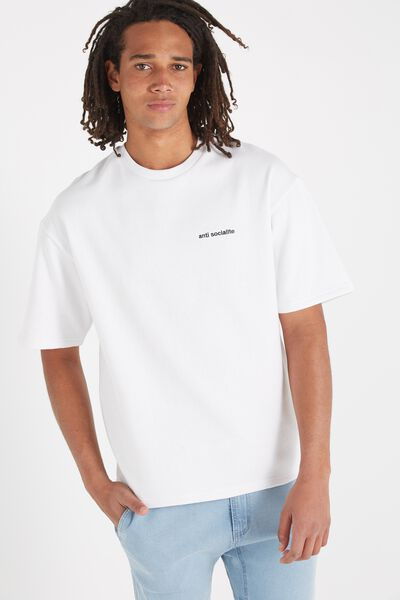 Among Equals Drop Shoulder Fleece Tee, WHITE/ANTI SOCIALITE