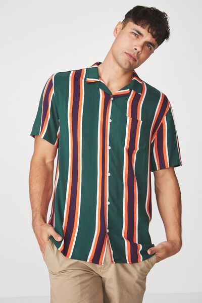 Festival Shirt, GREEN BOLD STRIPE