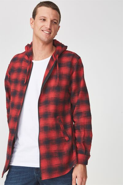 Zip Hood Shirt, BLACK RED CHECK