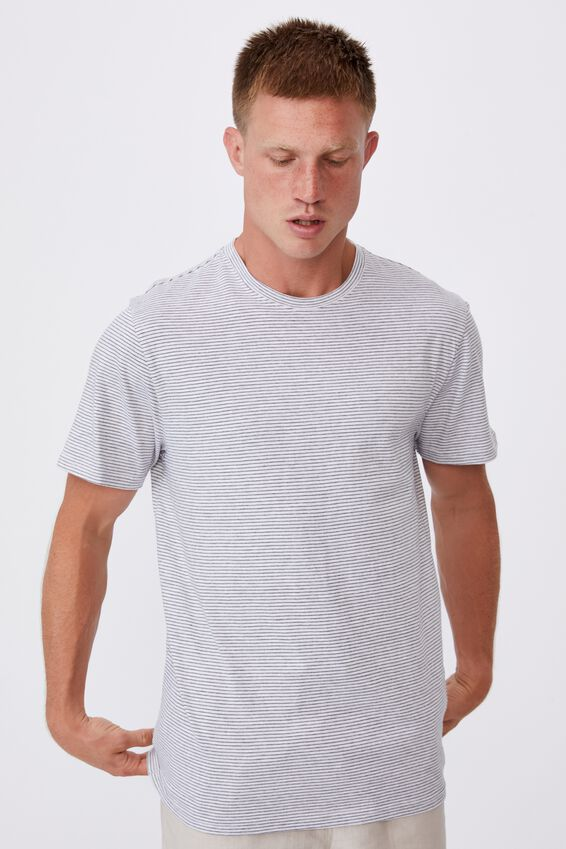 Graduate T-Shirt, WHITE MARLE/FADED SLATE STRIPE