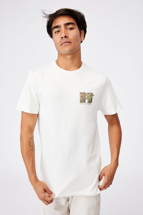 Tbar Collab Music T-Shirt, LCN MTV VINTAGE WHITE/MTV-ORGANIC LOGO