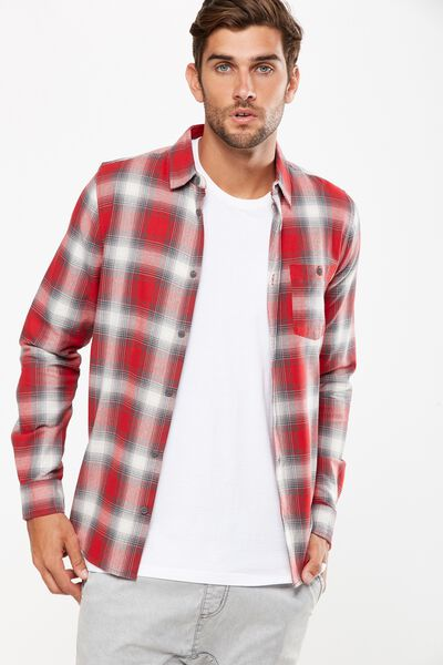 Rugged Long Sleeve Shirt, RED SHADOW CHECK