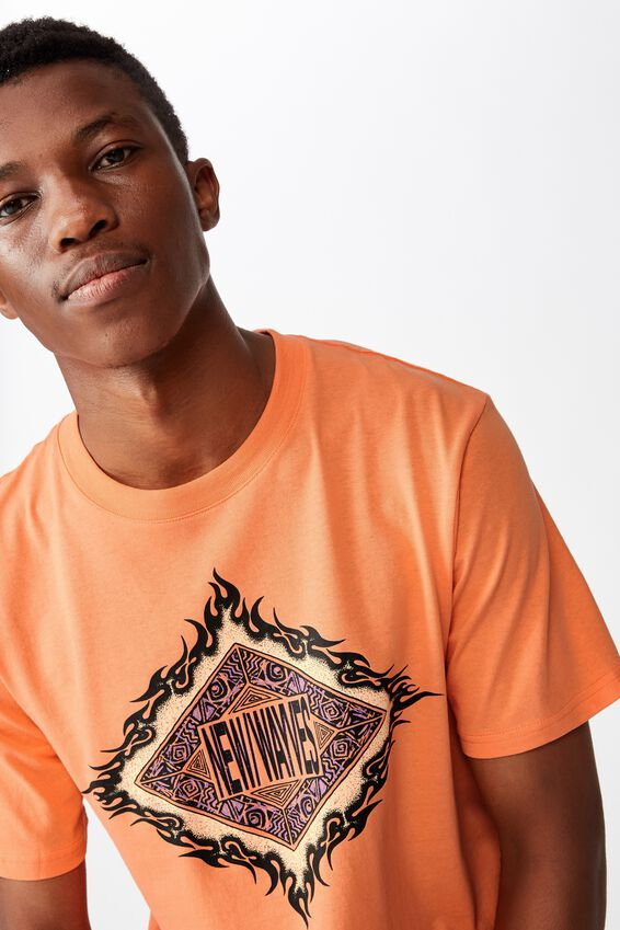 Tbar Art T-Shirt, SK8 SHERBET ORANGE/NEW WAYVES DIAMOND