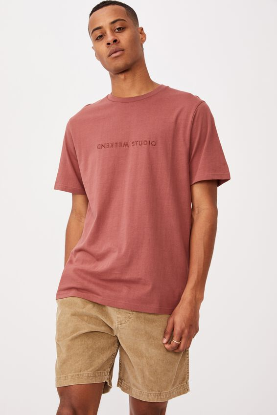 Tbar Text T-Shirt, OX BLOOD/WEEKEND STUDIO EMBROID
