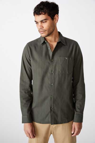 Rugged Long Sleeve Shirt, KHAKI