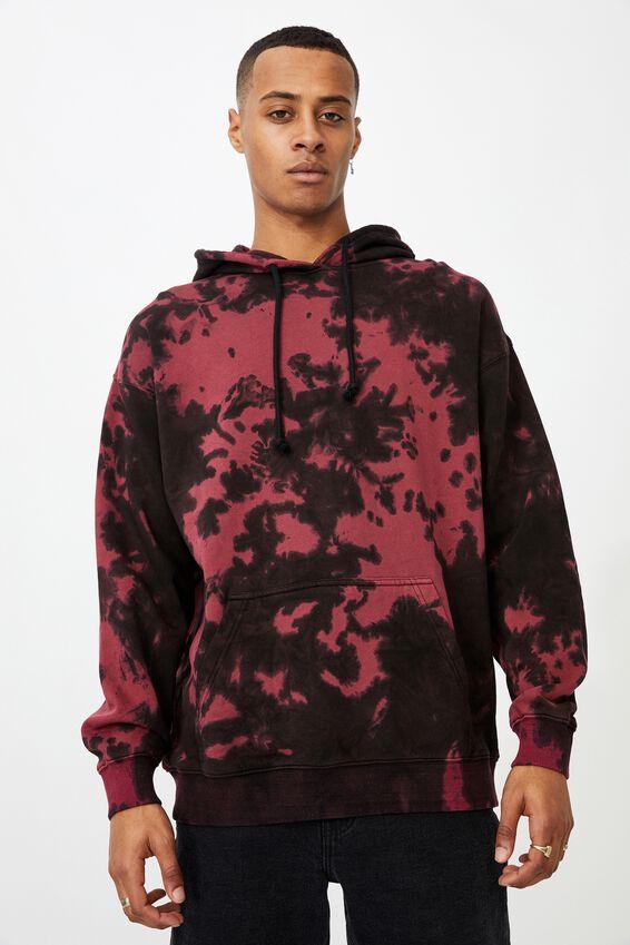 Drop Shoulder Pullover Fleece, RED NIGHT TIE DYE