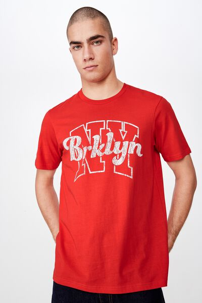 Tbar Sport T-Shirt, STRONG RED/NYC BROOKLYN