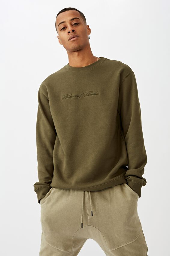Crew Fleece 2, WASHED KHAKI PERMANENT PARADISE SCRIPT