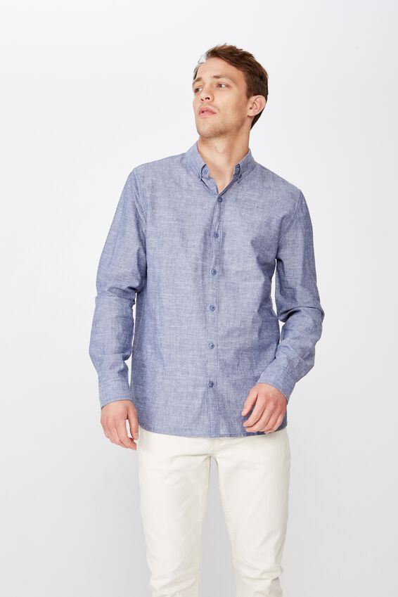 Premium Linen Cotton Long Sleeve Shirt, BLUE WHITE