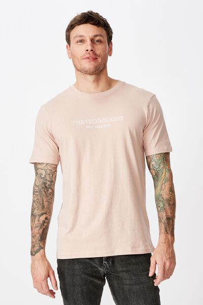 Tbar Text T-Shirt, DIRTY PINK/THE5BOUROUGHS