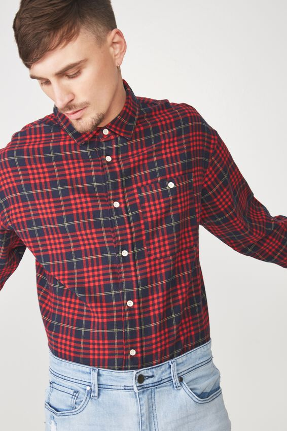 Rugged Long Sleeve Shirt, NAVY RED YELLOW CHECK