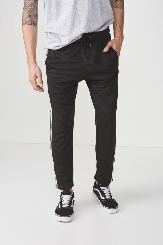 Slim Side Stripe Track Pant, BLACK