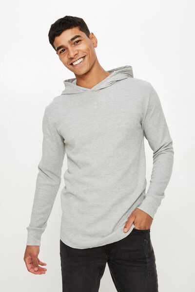 Hooded Waffle Long Sleeve, GREY MARLE