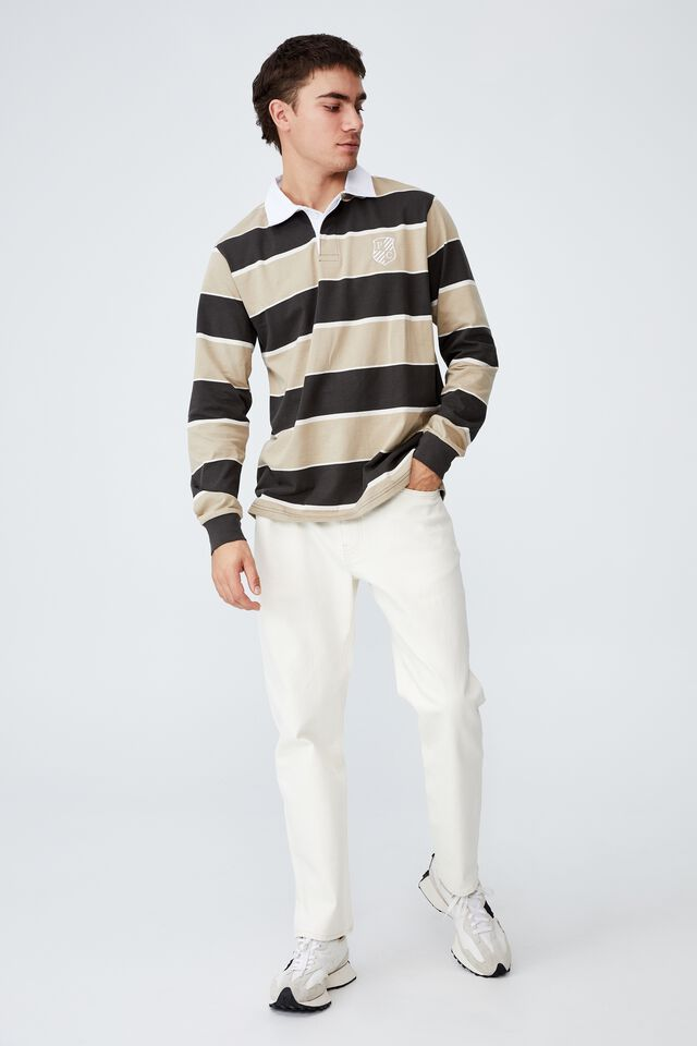 Rugby Long Sleeve Polo Personalised, GRAVEL STONE BLOCK STRIPE