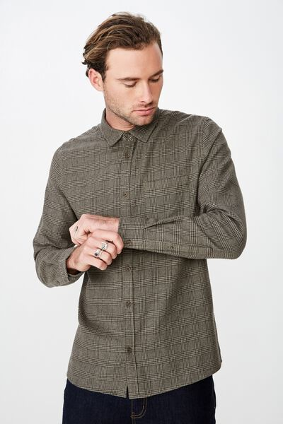 Rugged Long Sleeve Shirt, KHAKI PRINCE OF WALES CHECK