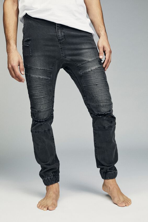 Slim Denim Jogger, WASHED BLACK MOTO RIPS