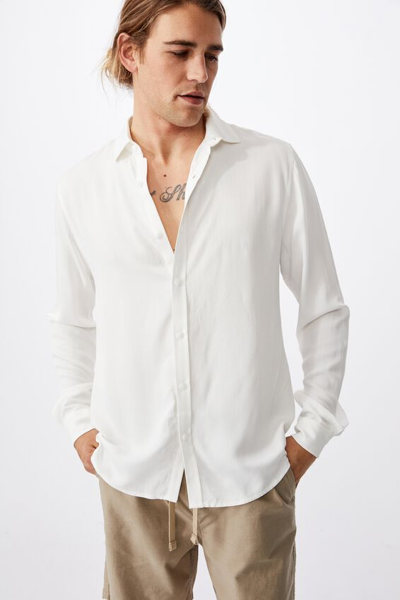 91 Long Sleeve Shirt, WHITE