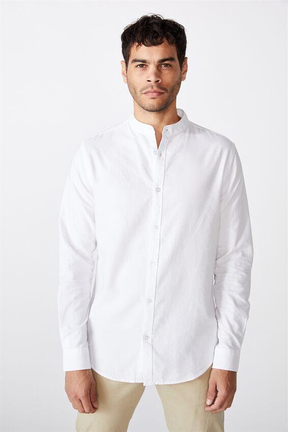 Banded Collar Shirt, WHITE