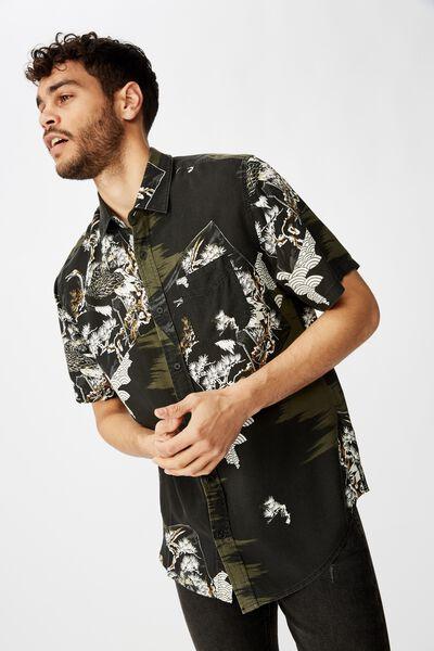 Short Sleeve Resort Shirt, BLACK SPLICED