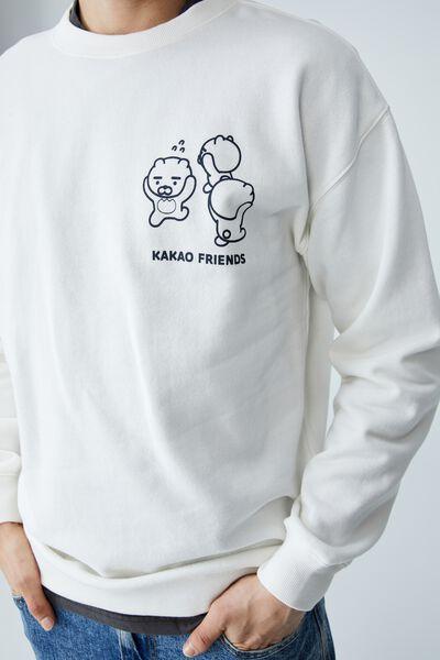 Kakao Friends Crew Fleece, LCN KAK VINTAGE WHITE/KAKAO RYAN