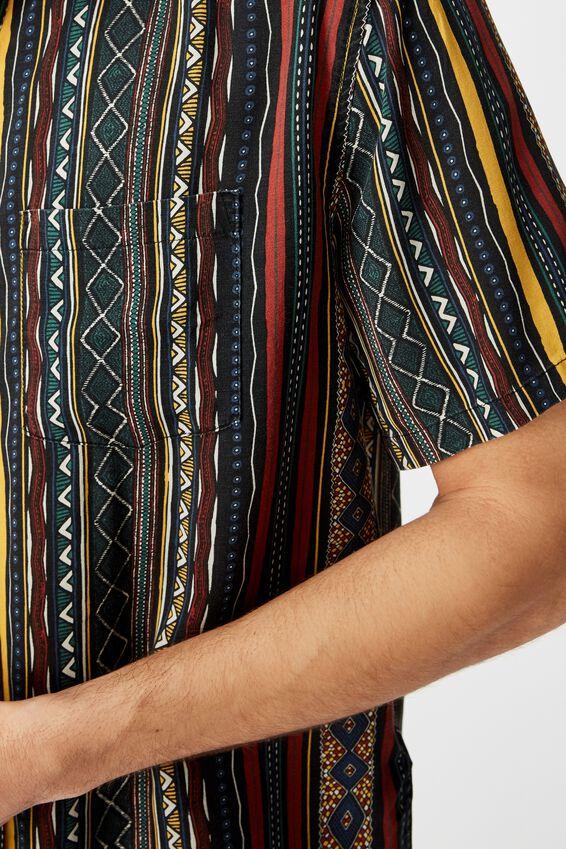 91 Short Sleeve Shirt, MULTI COL VERTICAL TRIBAL