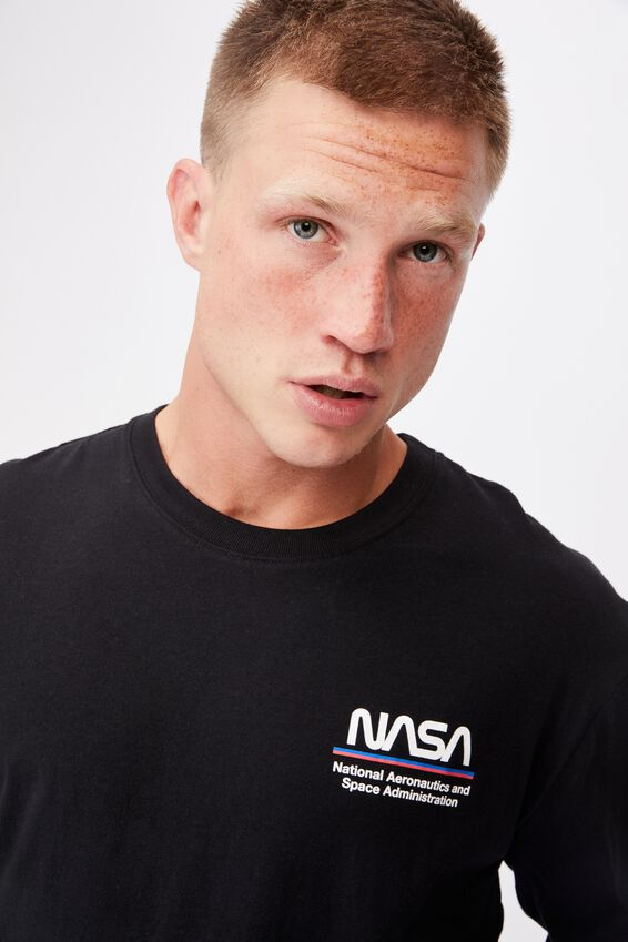 Tbar Collab Long Sleeve T-Shirt, LCN NAS BLACK/NASA-CHEST WORM LOGO