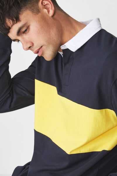 Rugby Polo, NAVY YELLOW BLOCK STRIPE