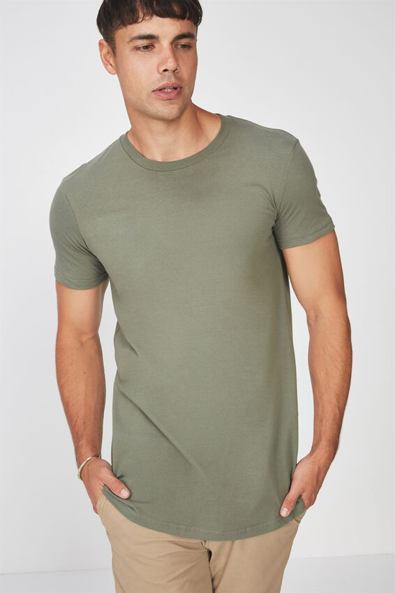 Essential Longline Curved Hem, BUSH GREEN