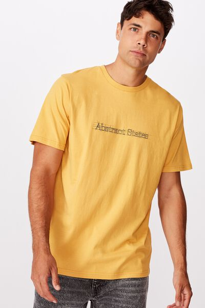 Tbar Text T-Shirt, AGED YELLOW/ABSTRACT STATES SKETCH
