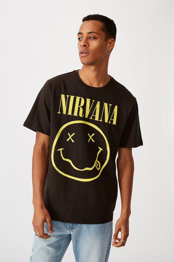 Tbar Collab Music T-Shirt, LCN LN WASHED BLACK/NIRVANA-SMILE