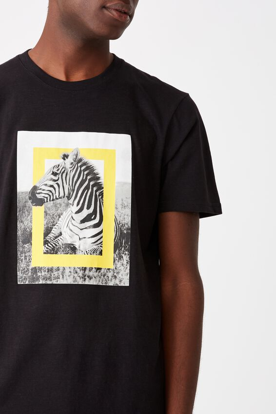 Tbar Collab Pop Culture T-Shirt, LCN NG BLACK NATIONAL GEOGRAPHIC - ZEBRA