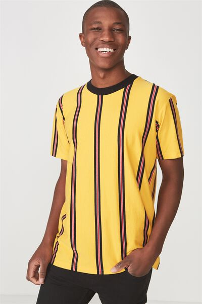 Dylan Tee, ZINNIA YELLOW/STRONG RED/WHITE BLACK VERTICAL STRI