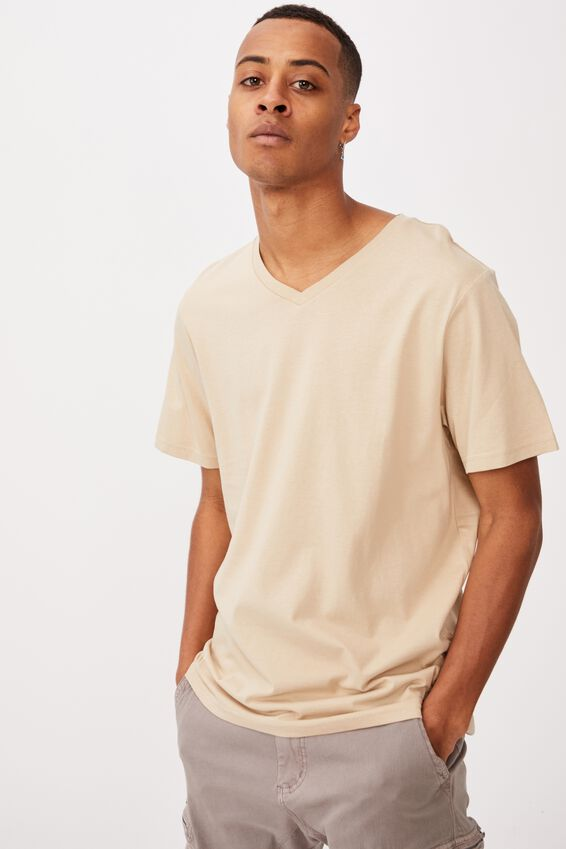 Essential Vee Neck T-Shirt, STONE CLAY